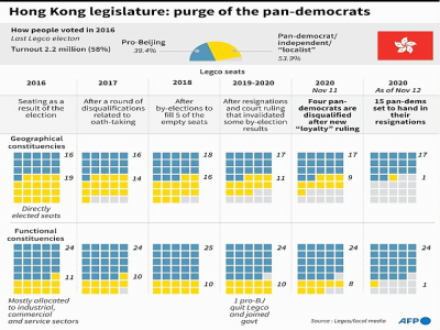 hong Kong legislature: purge of the pan-democrats