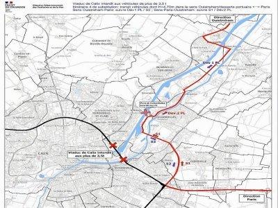 Pour ceux qui veulent rejoindre Ouistreham, il faut passer par Giberville puis le pont de Bénouville. Le pont de Colombelles n'est pas autorisé pour les poids-lourds. - Préfecture du Calvados