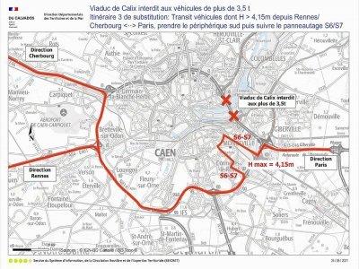 La déviation pour les poids lourds de plus de 4,5m de haut en passant par le périphérique Sud. - Préfecture du Calvados