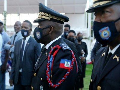 Le chef de la police haïtienne, Léon Charles, à la cérémonie de funérailles du président Moïse, le 23 juillet 2021 - Valerie Baeriswyl [AFP]