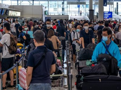 L'aéroport de Hong Kong avant un vol pour le Royaume-Uni le 19 juillet 2021    Bertha WANG [AFP]