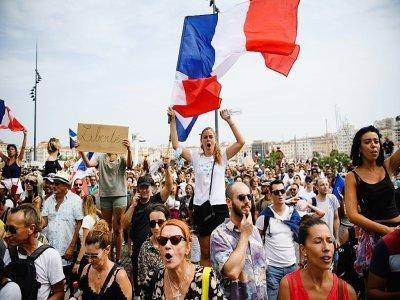 Manifestation contre le pass sanitaire le 24 juillet 2021 à Marseille    CLEMENT MAHOUDEAU [AFP]