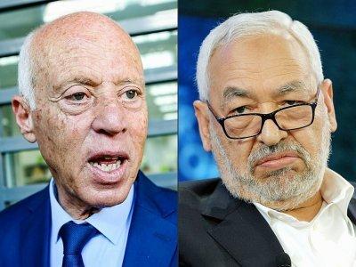Montage photo du président tunisien Kais Saied et du chef du Parlement et du parti Ennahdha Rached Ghannouchi - FETHI BELAID, Eric PIERMONT [AFP/Archives]