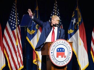 Donald Trump lors d'un discours devant le parti républicain de la Caroline du Nord à Greenville, le 5 juin 2021    Melissa Sue Gerrits [GETTY IMAGES NORTH AMERICA/AFP]