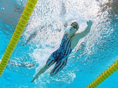 L'Américaine Kathleen Ledecky lancée vers sa victoire sur 1500 m nage libre à Tokyo, le 28 juillet 2021    François-Xavier MARIT [AFP]