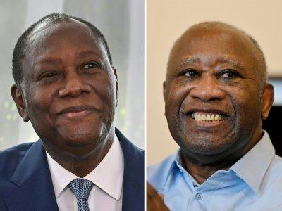 Photomontage du président ivoirien Alassane Ouattara (à gauche) et de l'ancien président ivoirien Laurent Gbagbo    Issouf SANOGO, Sia KAMBOU [AFP]