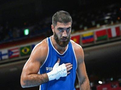 Le boxeur français Mourad Aliev, le 29 juillet 2021 aux JO de Tokyo    Luis ROBAYO [POOL/AFP]