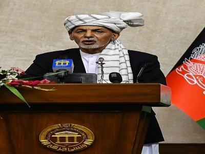 Le président afghan Ashraf Ghani lors d'un discours au parlement, à Kaboul le 2 août 2021    WAKIL KOHSAR [AFP]