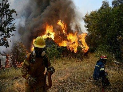 Des pompiers luttent contre un incendie à Labiri, près de Patras, en Grèce, le 31 juillet 2021    STR [Eurokinissi/AFP]