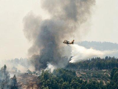 Un avion bombardier d'eau survole le village de Kourkouli (nord de Eubée) pour lutter contre les incendies, le 5 août 2021    Louisa GOULIAMAKI [AFP]