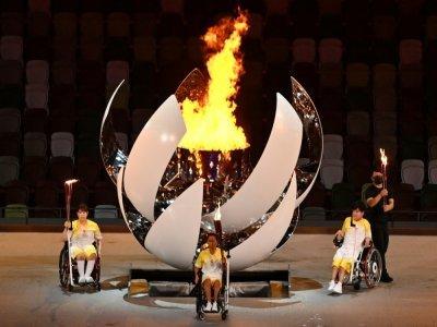La vasque des Jeux paralympiques de Tokyo lors de la cérémonie d'ouverture, le 24 août 2021 au Stade national    CHARLY TRIBALLEAU [AFP]