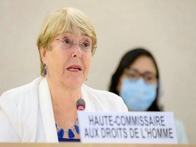 La cheffe des droits de l'homme de l'ONU, Michelle Bachelet, le 24 août 2021 à Genève    Fabrice COFFRINI [AFP]