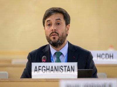 L'ambassadeur afghan Nasir Ahamd Andisha, lors d'une réunion spéciale du Conseil des droits de l'homme sur l'Afghanistan, le 24 août 2021 à Genève    Fabrice COFFRINI [AFP]