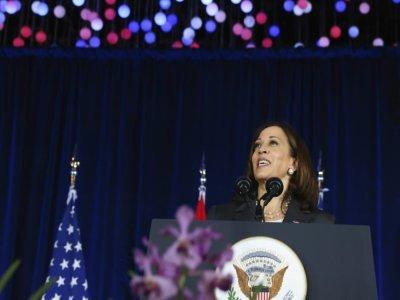La vice-présidente américaine Kamala Harris à Singapour, le 24 août 2021    EVELYN HOCKSTEIN [POOL/AFP]