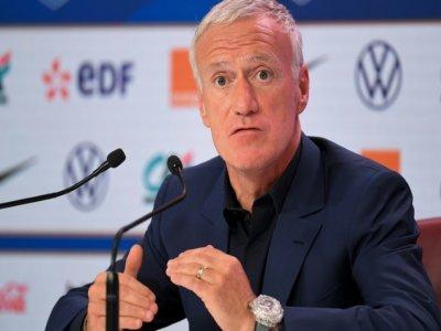 Le sélectionneur de l'équipe de France, Didier Deschamps, lors de sa conférence de presse, le 26 août à Paris, pour annoncer la liste des joueurs convoqués pour les trois matches qualificatifs pour le Mondial-2022,    bertrand GUAY [AFP]