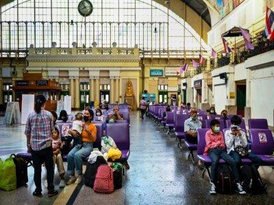 Le hall de la gare de Hua Lamphong, à Bangkok, le 22 juin 2021 en Thaïlande    Lillian SUWANRUMPHA [AFP]