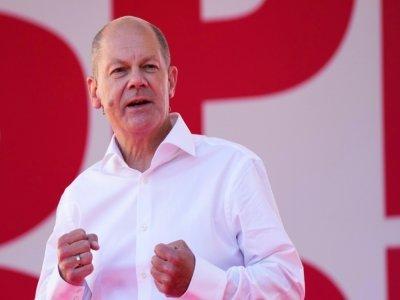 Olaf Scholz, ministre des Finances et vice-chancelier, candidat du SPD aux élections en Allemagne, lors d'un meeting de campagne à Berlin, le 27 août 2021    Markus Schreiber [POOL/AFP]