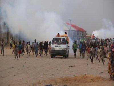 Des enfants jouent dans un camp pour personnes déplacées dans l'Etat de Borno, le 15 avril 2020    AUDU MARTE [AFP]