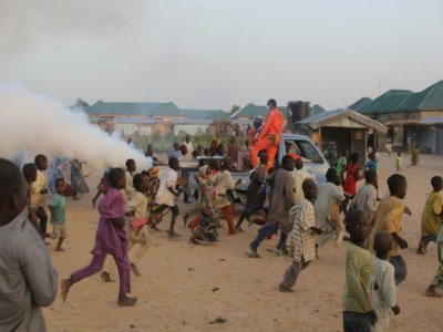 Des enfants jouent dans un camp pour personnes déplacées à Maiduguri, au Nigeria le 15 avril 2020    AUDU MARTE [AFP]