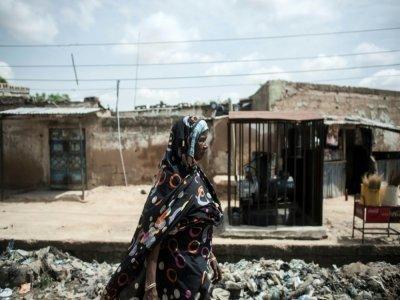 Une Nigériane dans une rue de Maiduguri, dans le nord-est du Nigeria le 7 juillet 2017    STEFAN HEUNIS [AFP]