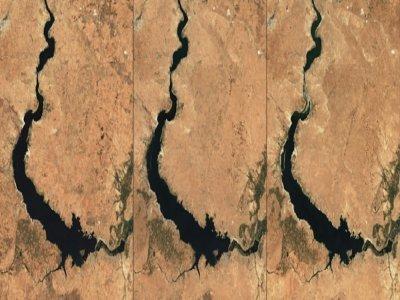 (g-d)Images satellites fournies par l'Agence spatiale européenne prises les 21 août 2019, 25 août 2020 et 25 août 2021 montrant une vue générale du réservoir Tichrine, du barrage Tichrine et du lac Assad dans le centre de la Syrie    - [EUROPEAN SPACE AGENCY/AFP]