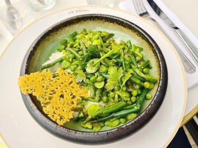 Le risotto et ses légumes croquants.