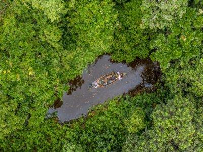 Vue aérienne d'une pirogue dans la forêt de Hlanzoun, au Bénin, le 9 juillet 2021    Yanick Folly [AFP]