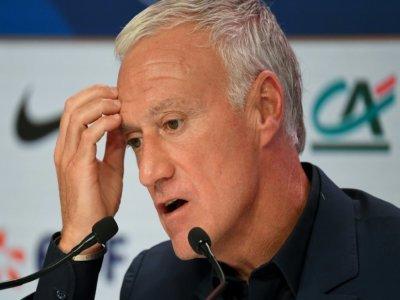 Didier Deschamps lors de la conférence de presse de présentation des joueurs français convoqués pour la Coupe du monde au Qatar 2022, dans les locaux de la fédération française de football à Paris le 26 août 2021.    bertrand GUAY [AFP]
