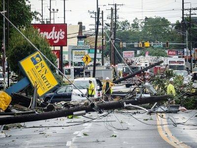 Les dégâts après le passage d'une tornade à Annapolis, aux Etats-Unis, le 1er septembre 2021    Drew Angerer [GETTY IMAGES NORTH AMERICA/AFP]