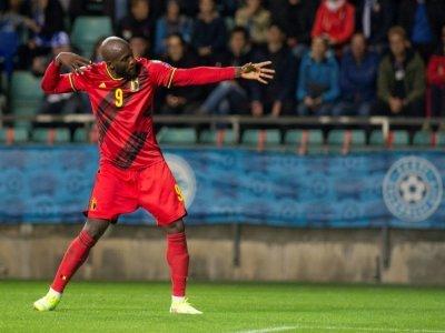 La joie de l'attaquant belge Romelu Lukaku, auteur d'un doublé contre l'Estonie, lors des qualifications pour le Mondial-2022 au Qatar, le 2 septembre 2021  à Tallin    RAIGO PAJULA [AFP]
