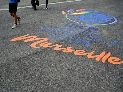 A l'entrée du Palais des événements de Marseille, où s'ouvre le congrès mondial de l'UICN, le 2 septembre 2021    Nicolas TUCAT [AFP]