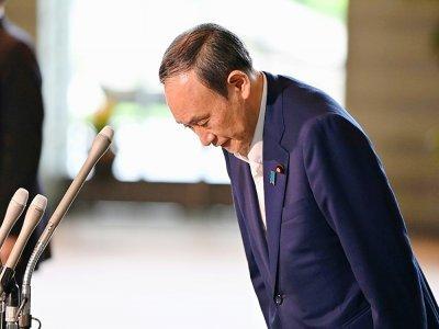 Le Premier ministre japonais Yoshihide Suga lors d'une conférence de presse, à Tokyo le 3 septembre 2021    Kazuhiro NOGI [AFP]