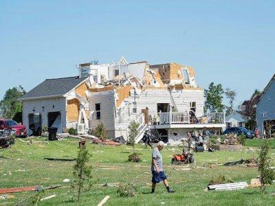 Une maison détruite par une tornade à Mullica Hill, dans le New Jersey, le 2 septembre 2021    Branden Eastwood [AFP]