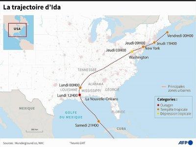 La trajectoire d'Ida     [AFP]