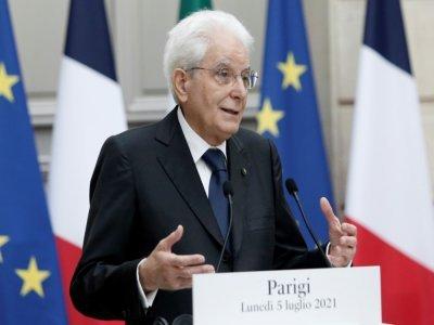 Le président italien Sergio Mattarella lors d'une conférence presse à Paris, le 5 juillet 2021    Lewis Joly [POOL/AFP]