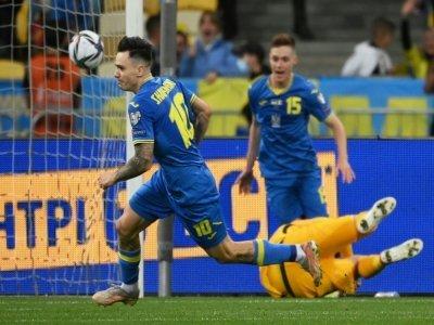 Mykola Shaparenko vient d'ouvrir le score pour l'Ukraine contre la France à Kiev, le 4 septembre 2021    FRANCK FIFE [AFP]