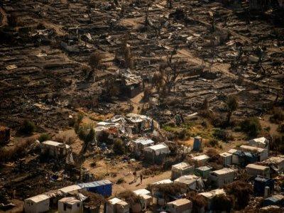 Vue du camp incendié de Moria, sur l'île de Lesbos (Grèce), le 16 septembre 2020    ANGELOS TZORTZINIS [AFP/Archives]