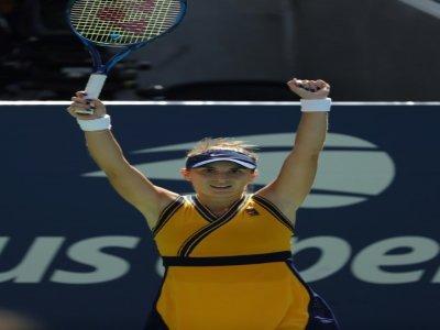 La Suissesse Belinda Bencic après sa victoire face à Iga Swiatek en 8es de finale de l'US Open, le 6 septembre 2021 à New York    Kena Betancur [AFP]