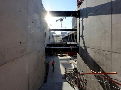 La construction d'une nouvelle gare est en cours pour le prolongement du RER E à la Porte Maillot, à Paris, le 6 septembre 2021    Thomas COEX [AFP]