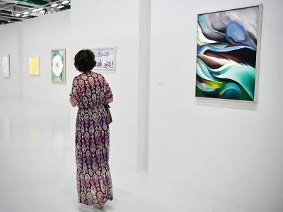 Tableaux de Georgia O'Keefe exposés le 6 septembre 2021 au Centre Pompidou, à Paris, qui lui consacre une rétrospective    ALAIN JOCARD [AFP]
