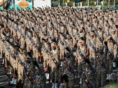 Une photo fournie par la présidence iranienne le 22 septembre 2019 montre des membres des Gardiens de la Révolution, armée d'élite du régime, lors d'un défilé à Téhéran    - [Iranian Presidency/AFP/Archives]