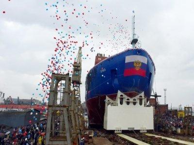 """Le brise-glace russe à propulsion nucléaire """"Ural"""" à Saint-Pétersbourg, le 25 mai 2019    OLGA MALTSEVA [AFP/Archives]"""
