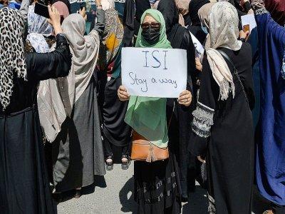 Des Afghanes manifestent contre l'ingérence du Pakistan, le 7 septembre 2021 à Kaboul    Hoshang Hashimi [AFP]