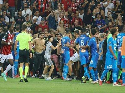 Echauffourées pendant le match Nice-OM, le 22 août 2021 à Nice    Valery HACHE [AFP/Archives]