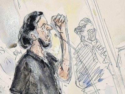 Sketch de Salah Abdeslam lors du premier jour du procès des attentats du 13-novembre au Palais de Justice à Paris, le 8 septembre 2021    Benoit PEYRUCQ [AFP]