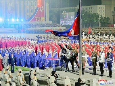 Image diffusée par l'agence nord-coréenne Kcna le 9 septembre 2021 d'une parade des forces paramilitaires et de sécurité publique à Pyongyang à l'occasion du 73e anniversaire de la fondation de la République démocratique populaire de Corée    STR [KCNA VIA KNS/AFP]