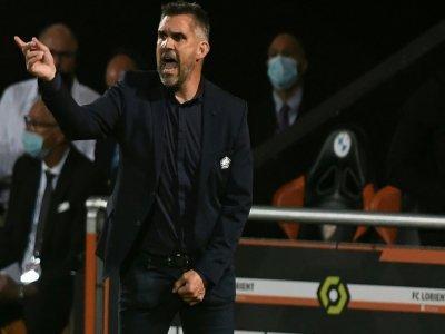 L'entraîneur lillois Jocelyn Gourvennec, lors de la défaite (2-1) en Ligue 1, le 10 septembre 2021 au Stade du Moustoir à Lorient    Fred TANNEAU [AFP]