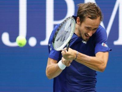 Le Russe Daniil Medvedev, lors de sa demi-finale de l'US Open contre le Canadien Félix Auger-Aliassime, le 10 septembre 2021 à à New York    ELSA [GETTY IMAGES NORTH AMERICA/AFP]