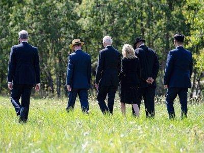 Le président américain Joe Biden et la première dame Jill Biden sur le lieu du crash du vol United Airlines 93 à Shanksville, en Pennsylvanie, le 11 septembre 2021    Jim WATSON [AFP]