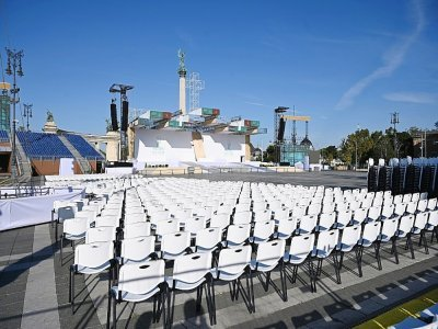 Vue générale de la palce des héros à Budapest le 9 septembre 2021, où devait avoir lieu la messe célébrée par le pape François lors de sa visite en Hongrie le 12 septembre 2021    ATTILA KISBENEDEK [AFP]